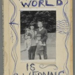 "Bernard Kops's ""The World is a Wedding"" (London: Mayflower-Dell, 1966). Not all post-market portraiture is elegant. Kops modified this presentation copy of his autobiography for his friend and colleague Arnold Wesker, whose archive resides at the Ransom Center. Kops removed the original cover and replaced it with the inverted cover torn from a paperback copy of Evelyn Waugh's Brideshead Revisited, which he then decorated with pen and a family photo. In his inscription on the title page, Kops explains, ""I hated the… cover so much I made my own. Yours Bernard Kops December 65."" Photo by Pete Smith."