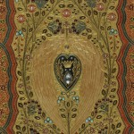 "Thomas Moore's ""Lalla Rookh: An Oriental Romance"" (London and New York: Routledge, Warne, & Routledge, 1860). This copy of Moore's ""Lalla Rookh"" was primped in the early twentieth century. Sangorski and Sutcliffe of London bound this weighty three-pound copy in a colored leather binding inlaid with gold to form an intricate floral pattern studded with a central diamond and several rubies, pearls, and turquoises. Hidden inside the front cover is a stunning Cosway-style portrait of Moore, similar to Marie Antoinette's portrait on another book in this display. A floral pattern was chipped into the book's gilded edges creating a bas-relief effect, not unlike the gauffered edges on the embroidered prayer book mentioned below. Photo by Pete Smith."