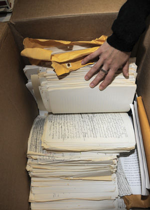 Additional materials for the Norman Mailer papers were received and inspected. Photo by Pete Smith.