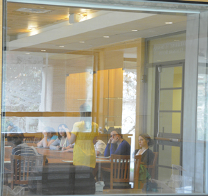 A class of graduate students meeting at the Ransom Center. Photo by Anthony Maddaloni.