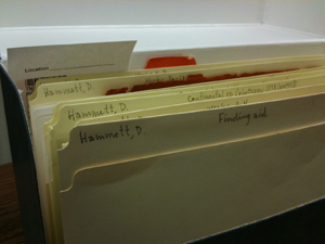 Archival box from the Dashiell Hammett collection at the Harry Ransom Center.