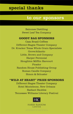 "Thank you to ""Wild at Heart"" sponsors"