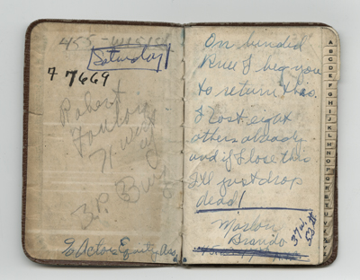 Inside cover of Marlon Brando's address book, which he lost during a 1949 production of 'A Streetcar Named Desire.'
