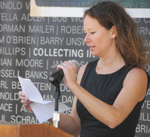 Visiting English professor and former Ransom Center fellow Vanessa Guignery was one of the readers at the Poetry on the Plaza event celebrating works in the current exhibition 'Culture Unbound: Collecting in the Twenty-First Century.' Photo by Anthony Maddaloni.