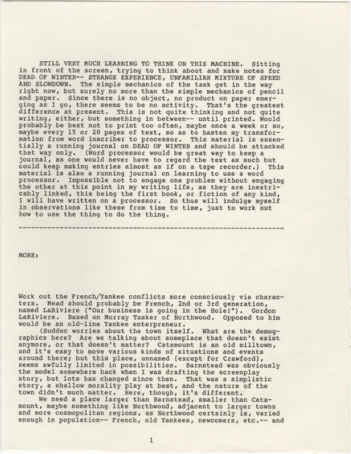 Russell Banks's notes about his early experiences writing on a word processor.