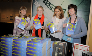 Ransom Center staff shared copies of David Foster Wallace's 'Infinite Jest' during its '60 Books in 60 Minutes.' Photo by Pete Smith.