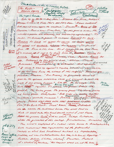 "Handwritten draft page of David Foster Wallace's essay ""Tense Present: Democracy, English, and the Wars over Usage."""