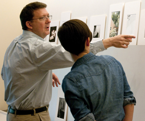 Curator of Photography David Coleman conducts a portfolio review of students' work. Photo by Pete Smith.