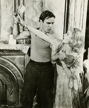 Film still of Marlon Brando and Vivien Leigh in 'A Streetcar Named Desire.'