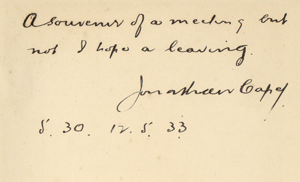 """Curator Molly Schwartzburg confirmed the signature identification by comparing the signature to this inscription by Jonathan Cape inside cover of Christopher Morley's copy of """"After Leaving Mr. Mackenzie"""" by Jean Rhys."""