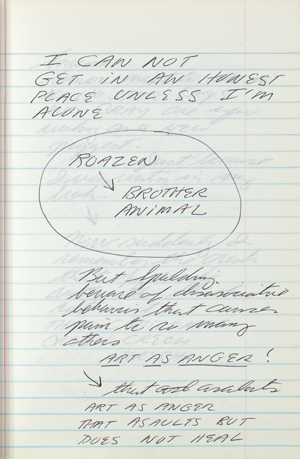 Page from Spalding Gray journal, which spans from February to April 1990.