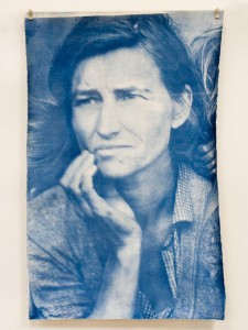 Ben Ruggiero. Windows as Viewed #71: Migrant Mother, Dorothea Lange 1936. Window etching cyanotype contact print. Harry Ransom Center. November 11, 2011.