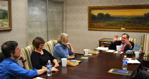 Ransom Center Director Thomas F. Staley meets with a group of the Ransom Center's docents to discuss James Joyce's 'Ulysses' during their book club meeting. The docents read the book in conjunction with the exhibition 'Banned, Burned, Seized, and Censored.' Staley is a prominent Joyce scholar and has been the chairman or co-chairman of four international James Joyce symposia in Dublin and Trieste, and is a board member and former president of the James Joyce Foundation. Photo by Alicia Dietrich.
