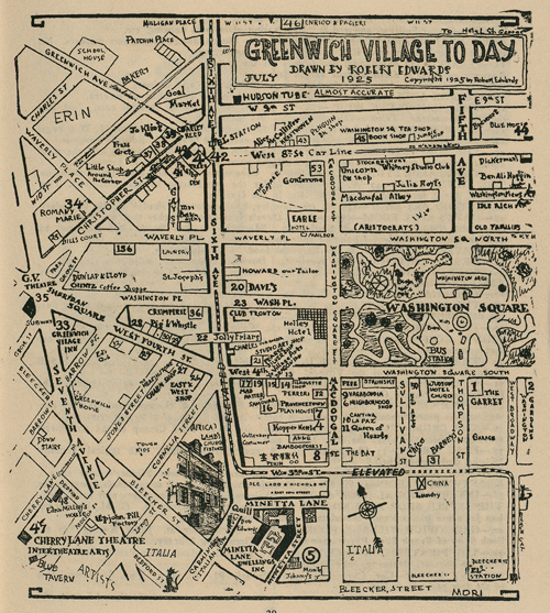 A map of Greenwich Village from 'The Greenwich Village Quill' (1925). The shop was near the corner of Christopher Street and Greenwich Avenue.