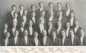 Lew Ney was a member of the Glee Club while he attended The University of Texas at Austin. He's pictured here in a photo from the 1906 Cactus Yearbook on the bottom row, second from the right.