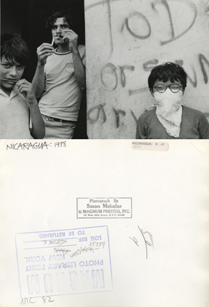 "Susan Meiselas/Magnum Photos. Front and back of press print ""Nicaragua: 1978"" from Magnum Photos archive."