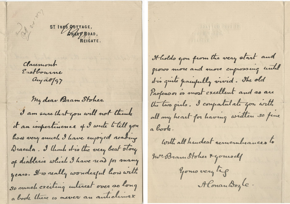 DoIn This Letter To Bram Stoker, Doyle Expresses His Admiration For The  Recently Published U201cDracula.