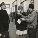"François Truffaut, Julie Christie, and Oskar Werner on the set of ""Fahrenheit 451"" (1966). Lewis Allen collection."