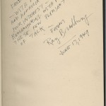 """The Ransom Center's copy of """"Dark Carnival"""" is inscribed by Bradbury to Frederic Dannay, who wrote mystery novels under the pseudonym Ellery Queen. Dannay was an early supporter of Bradbury, as well as an avid book collector, and multiple copies of Bradbury's works are found in the extensive Ellery Queen book collection at the Ransom Center."""