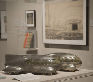 Norman Bel Geddes's Motor Car No. 9, with and without tail fin, in the exhibition 'I Have Seen the Future: Norman Bel Geddes Designs America.' Photo by Pete Smith.