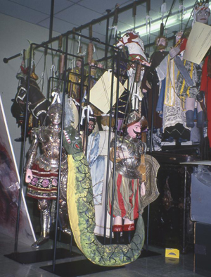 The Stanley Marcus collection of Sicilian marionettes before custom housing was built.