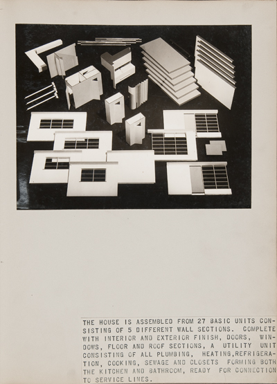 """""""Unassembled model of Bel Geddes's Prefabricated House,"""" ca. 1941—42. Photograph by unidentified photographer. Image courtesy of the Edith Lutyens and Norman Bel Geddes Foundation."""