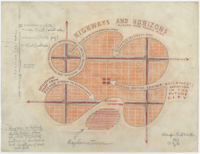 Norman Bel Geddes's firm's 'diagram in relief of city-traffic plan for 1960 showing features of boulevards and location of Highways & Horizons exhibit,' c. 1938. Image courtesy of the Edith Lutyens and Norman Bel Geddes Foundation.