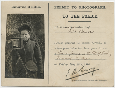Press pass for British photojournalist Christina Broom. 1910.