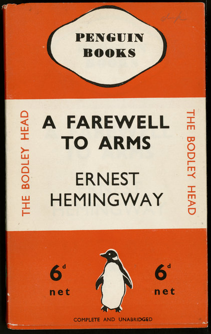 """A Farewell to Arms"" by Ernest Hemingway. 1935. This edition of ""A Farewell to Arms"" was part of the initial ten-book print run of Penguin's launch in 1935. Other titles in the series included Agatha Christie's ""The Mysterious Affair at Styles"" and Dorothy Sayers's ""The Unpleasantness at the Bellona Club."" As you can see from this cover, Penguin paperbacks emphasized the company's branding rather than the subject or author of the work; the original covers included the trademark drawing of the penguin but only rarely included illustrations pertaining to the book's content. The covers were color-coded: orange for fiction, green for crime, and blue for non-fiction."