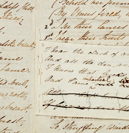 "Detail of the manuscript of the poem ""The Battle of Marathon"" by Elizabeth Barrett Browning, dated 1819."