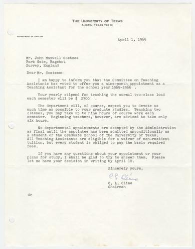 April 1, 1965, letter to J. M. Coetzee from C. L. Cline, Chairman of the Department of English at The University of Texas.