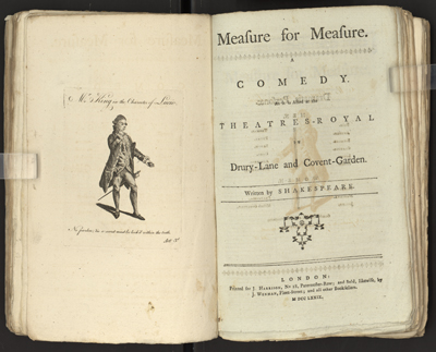 "Title page of ""Measure for Measure"" from the anthology ""Comedy As it is Acted at the Theatres-Royal in Drury-Lane and Covent-Garden."""