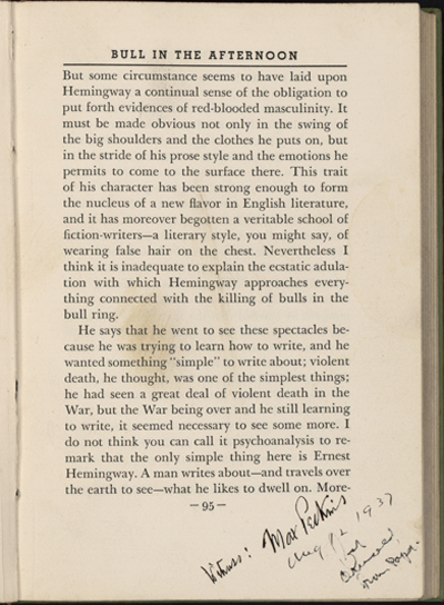 "Annotated page from Max Eastman's ""Art and the Life of Action, with other Essays."" The book was part of a skirmish between Ernest Hemingway and Max Eastman."