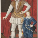 Engraved portrait of Sir Walter Raleigh and son.