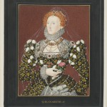 Handpainted engraving of Elizabeth I in extra-illustrated volumes.