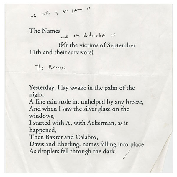 "Notebooks illuminate creative process behind Billy Collins's poem ""The Names"""