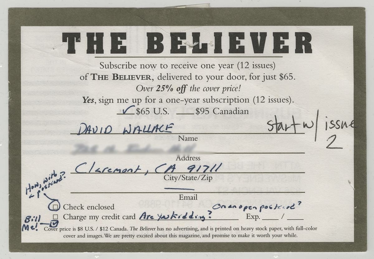 David foster wallace believer magazine subscription card filled out by david foster wallace alramifo Images