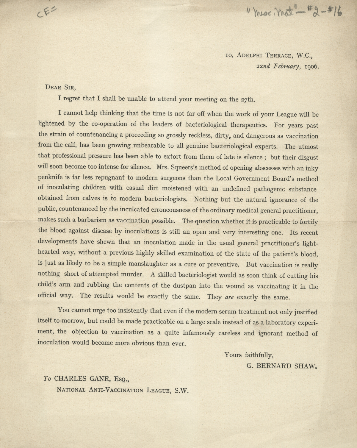George bernard shaw letter from george bernard shaw to charles gane 1906 in this letter from shaw thecheapjerseys Image collections