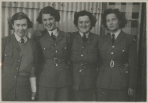 Christine Brooke-Rose in her WAAF uniform before she went to Bletchley Park. She is on the right, shown with three other women.  This photo was taken in the spring of 1941 by an unidentified photographer.