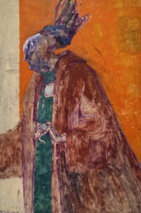 Dame Edith Sitwell (1887-1964) Oil and acrylic on board, 1959 72 x 48 inches © Trustees of the Feliks Topolski Estate