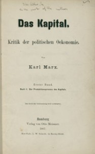 Title page of Das Kapital, with inscription by Marx
