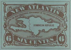 New Atlantis stamp from 1965 for 6 Centes, honoring the provisional government of the Dominican Republic. New Atlantis collection.
