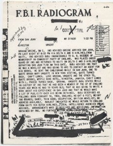 Page from Graham Greene's FBI file