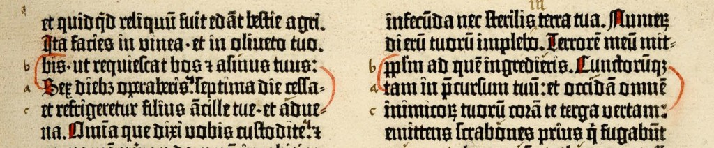 Leaf 40r manuscript correction; the Gutenberg Bible.