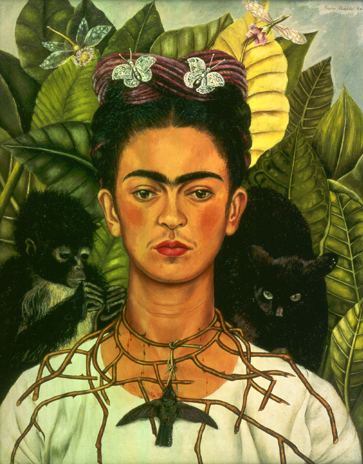 Frida Kahlo, Self-Portrait with Thorn Necklace and Hummingbird, 1940. © 2014 Banco de México Diego Rivera Frida Kahlo Museums Trust, Mexico, D.F. / Artists Rights Society (ARS), New York