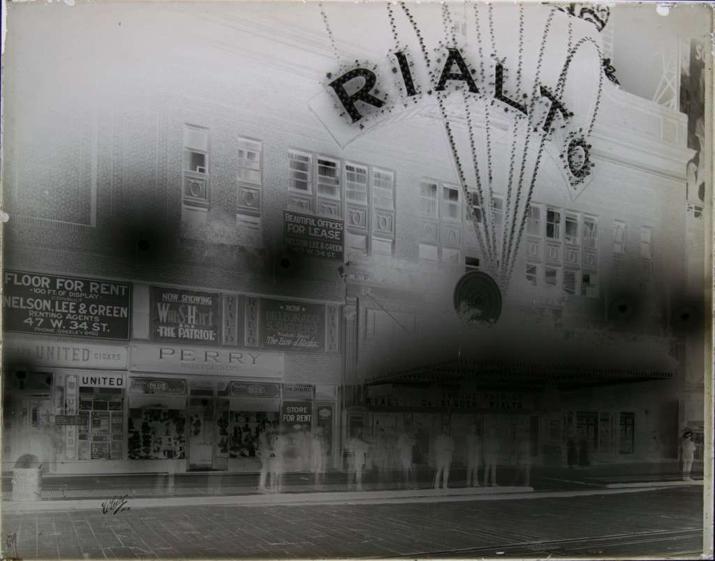 The glass plate negative of the Rialto Theater after treatment, now in one piece.