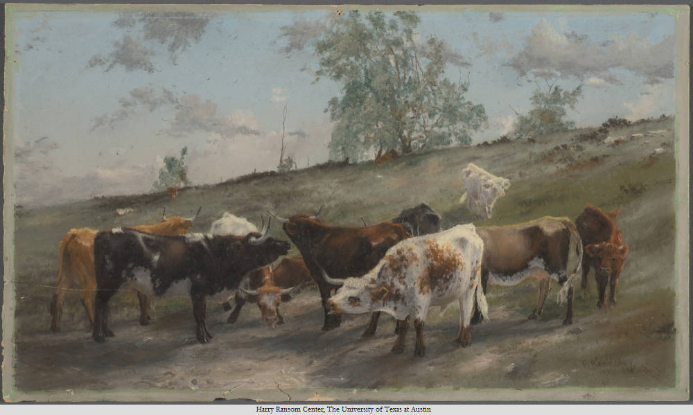Cattle Chewing Bones, Frank Reaugh, 1860-1945 Date. Circa 1880 and 1889. Pastel; 28 x 49 x 1 cm.
