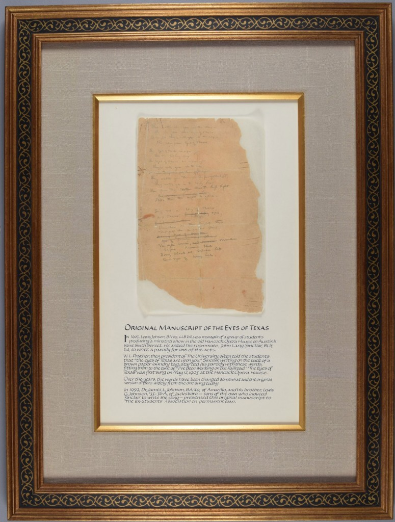 The Eyes of Texas manuscript before treatment, as displayed at Texas Exes. Photo by Pete Smith.