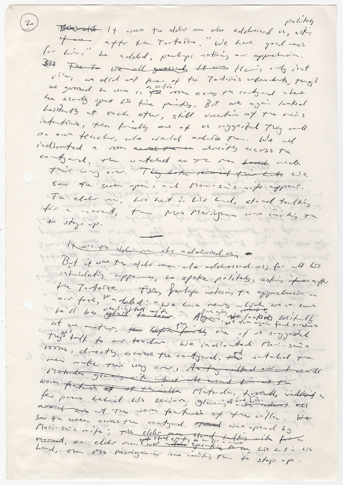 "Kazuo Ishiguro's ""rough"" pages from ""An Artist of the Floating World."" Courtesy of Harry Ransom Center."