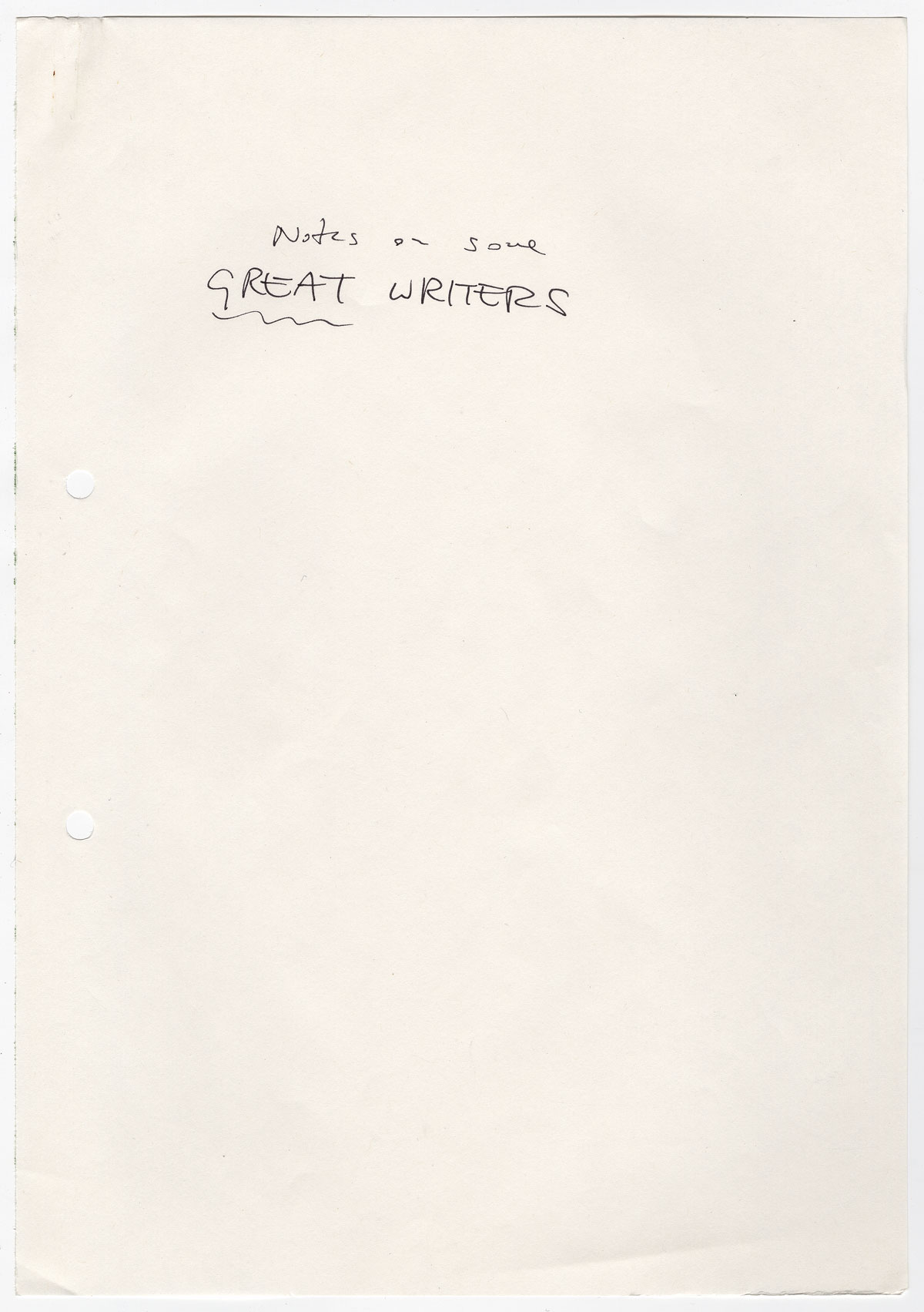 """Kazuo Ishiguro's cover sheet for """"Notes on some great writers."""""""